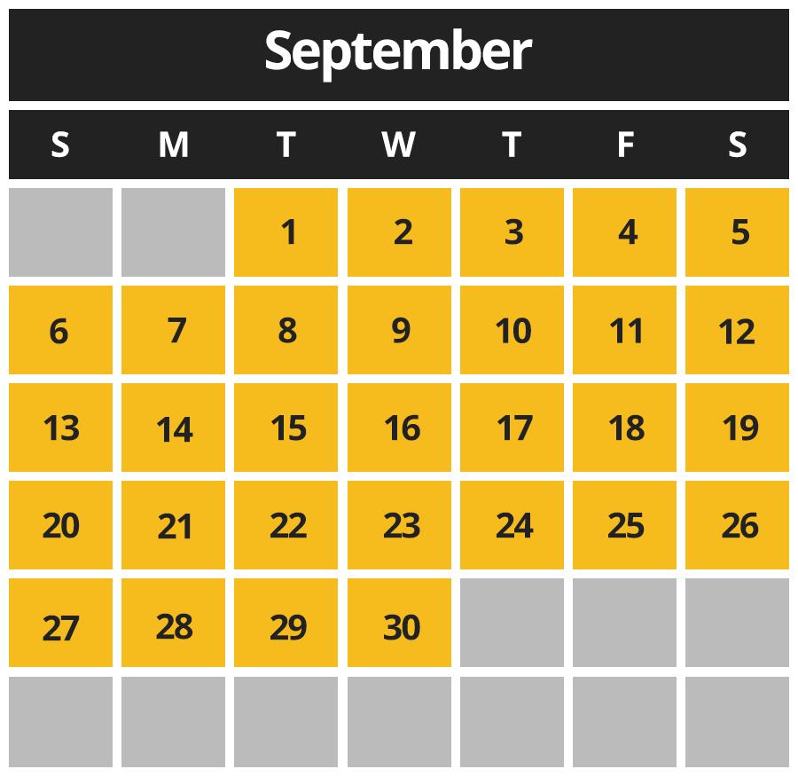 CBAZ September 2020 Hours
