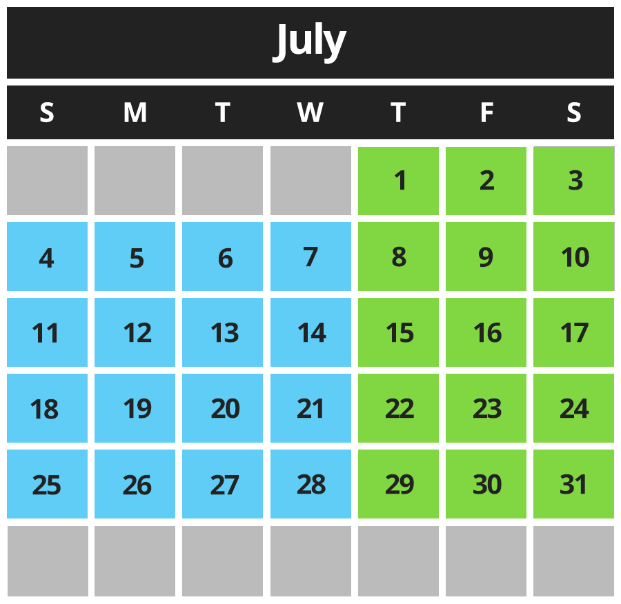 Chillz Dairy Bar Calendar July 2021