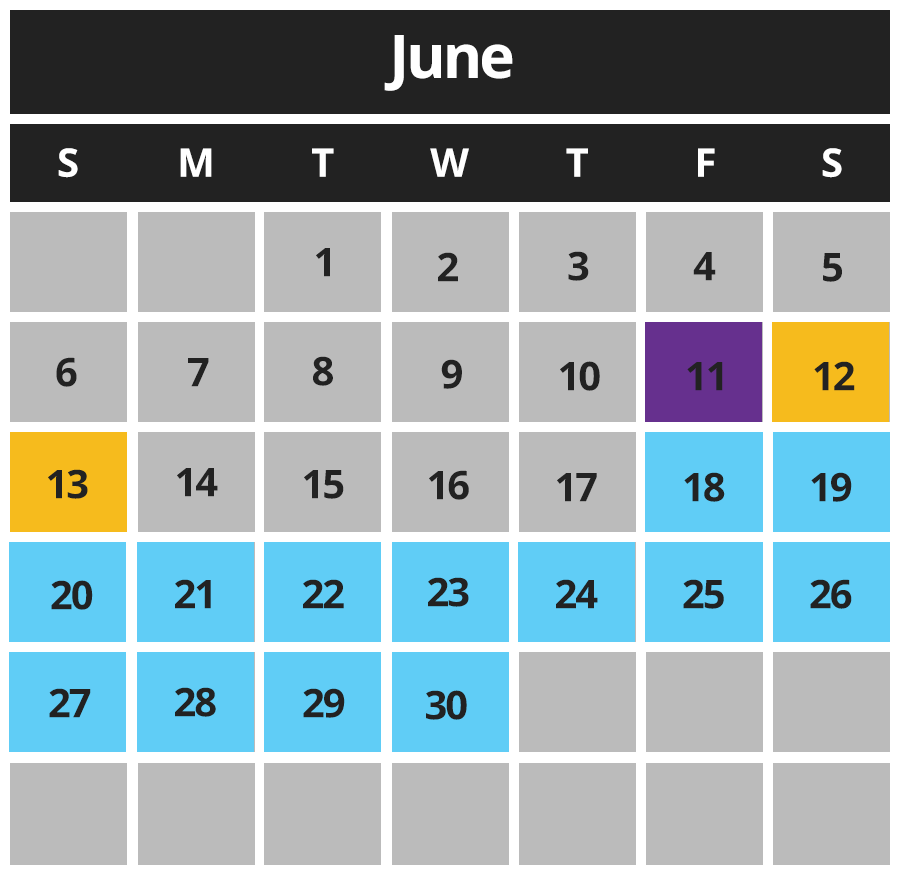 Chillz Dairy Bar Calendar June 2021