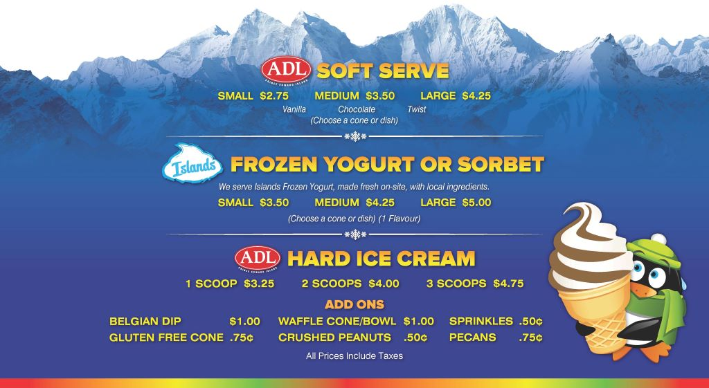 Chillz Ice Cream menu