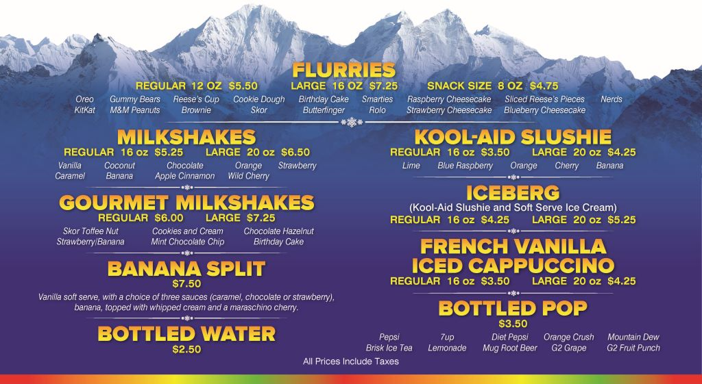 Chillz Dairy Bar Menu